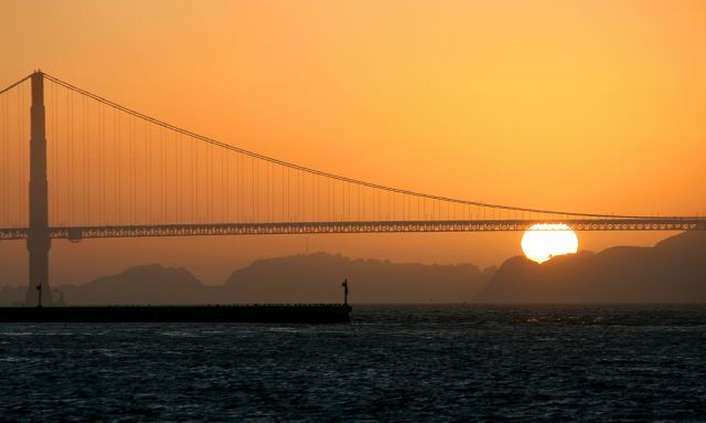 Golden Gate Bridge and Sunset - Standpunkt Pier 39, Fisherman's Wharf, San Francisco